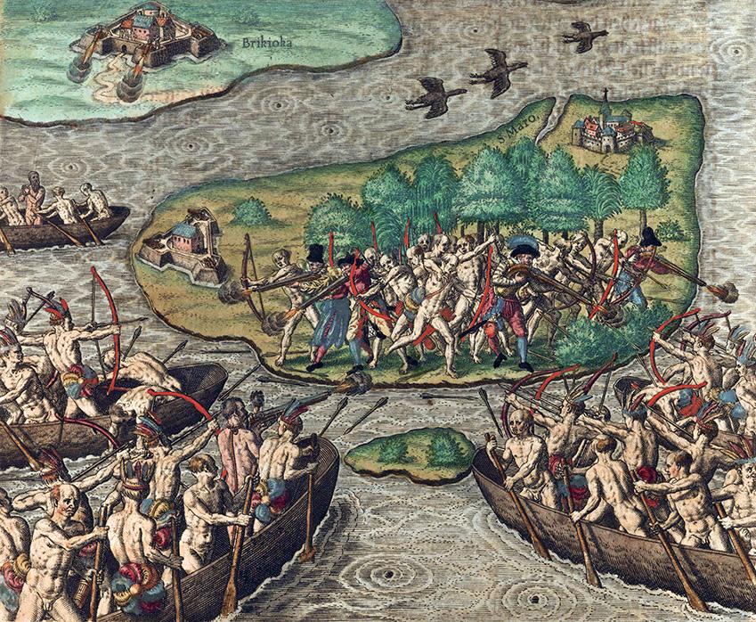 Tupinambá Indians, attack European settlement, Brazil, Theodoor de Bry, 1593